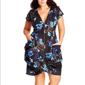City Chic Zip Front Floral Dress